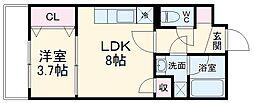 コアビタシオン 4階1LDKの間取り