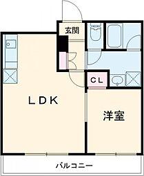 東急田園都市線 桜新町駅 徒歩8分の賃貸マンション 1階1LDKの間取り