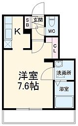 JR総武線 本八幡駅 徒歩10分の賃貸マンション 3階ワンルームの間取り