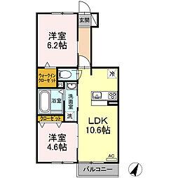伊豆箱根鉄道駿豆線 伊豆長岡駅 3.1kmの賃貸アパート 1階2LDKの間取り