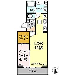 伊豆箱根鉄道駿豆線 三島二日町駅 徒歩11分の賃貸アパート 1階1LDKの間取り