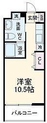 名鉄名古屋本線 有松駅 徒歩7分の賃貸マンション 3階ワンルームの間取り