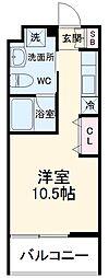 名鉄名古屋本線 有松駅 徒歩7分の賃貸マンション 4階ワンルームの間取り