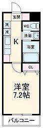 A・City鳴海 1階1Kの間取り