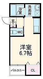 JR東海道本線 岡崎駅 徒歩8分の賃貸アパート 1階ワンルームの間取り