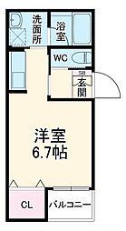JR東海道本線 岡崎駅 徒歩8分の賃貸アパート 3階ワンルームの間取り