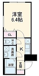 東急東横線 武蔵小杉駅 徒歩8分の賃貸マンション 3階1Kの間取り