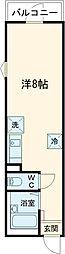 JR総武線 新小岩駅 徒歩7分の賃貸アパート 2階ワンルームの間取り