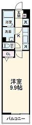 西武池袋線 所沢駅 徒歩9分の賃貸マンション 2階1Kの間取り