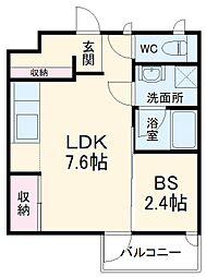 西武池袋線 所沢駅 徒歩16分の賃貸アパート 2階1DKの間取り