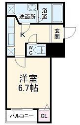 阪急京都本線 西向日駅 徒歩12分の賃貸アパート 3階1Kの間取り