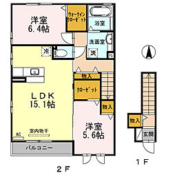 JR飯田線 茶臼山駅 徒歩5分の賃貸アパート 2階2LDKの間取り