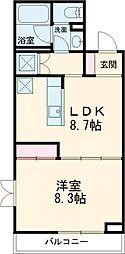 Blanc Ikegami 1階1LDKの間取り