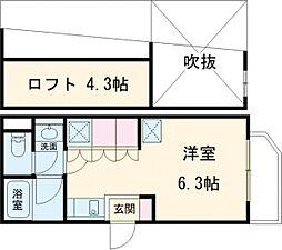 Blanc Ikegami 3階ワンルームの間取り