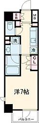 京急空港線 大鳥居駅 徒歩4分の賃貸マンション 6階1Kの間取り
