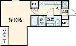 東武東上線 下赤塚駅 徒歩10分の賃貸マンション 地下1階1Kの間取り