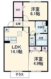 名鉄犬山線 江南駅 徒歩34分の賃貸アパート 1階2LDKの間取り
