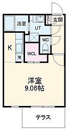 名古屋市営鶴舞線 浄心駅 徒歩2分の賃貸マンション 1階ワンルームの間取り
