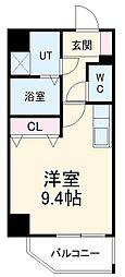 名古屋市営桜通線 高岳駅 徒歩6分の賃貸マンション 9階ワンルームの間取り