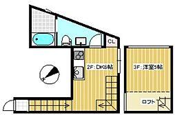 京王線 幡ヶ谷駅 徒歩10分の賃貸テラスハウス 2階1DKの間取り