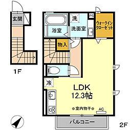 (仮)D-room知立上重原町花立 2階ワンルームの間取り