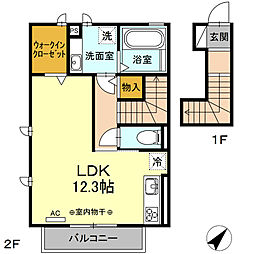 JR東海道本線 刈谷駅 徒歩17分の賃貸アパート 2階ワンルームの間取り