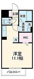 名鉄西尾線 桜町前駅 徒歩10分の賃貸アパート 3階ワンルームの間取り