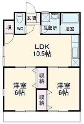 メゾン・ド・鎌ケ谷 1階2LDKの間取り