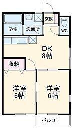 メゾン・ド・鎌ケ谷 2階2DKの間取り