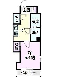 名古屋市営東山線 亀島駅 徒歩7分の賃貸マンション 4階1Kの間取り