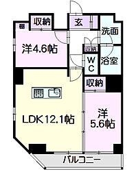 名古屋市営東山線 亀島駅 徒歩7分の賃貸マンション 6階2LDKの間取り