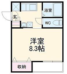 AZEST-RENT桜本町I 3階1Kの間取り
