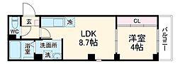 JR鶴見線 鶴見小野駅 徒歩8分の賃貸マンション 1LDKの間取り