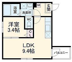 THE HOUSE 与野本町 Noir 3階1LDKの間取り