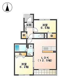 JR香椎線 宇美駅 徒歩32分の賃貸アパート 1階2LDKの間取り