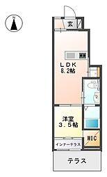JR香椎線 酒殿駅 徒歩9分の賃貸アパート 2階1LDKの間取り