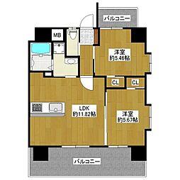 JR鹿児島本線 吉塚駅 徒歩15分の賃貸マンション 10階2LDKの間取り