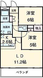 JR武豊線 東浦駅 徒歩12分の賃貸マンション 3階2LDKの間取り