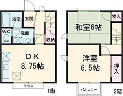 西武新宿線 鷺ノ宮駅 徒歩8分の賃貸テラスハウス 1階2DKの間取り