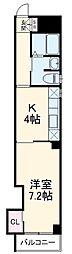 グラヴィス西院高辻 2階1DKの間取り