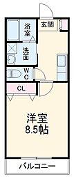 JR東北本線 小山駅 徒歩8分の賃貸マンション 1階1Kの間取り