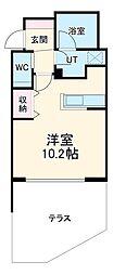 名古屋市営鶴舞線 八事駅 徒歩3分の賃貸マンション 1階ワンルームの間取り
