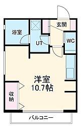 名古屋市営鶴舞線 八事駅 徒歩3分の賃貸マンション 3階ワンルームの間取り