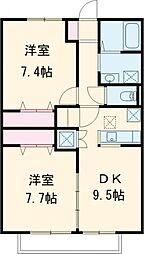 小田急小田原線 喜多見駅 徒歩26分の賃貸アパート 2階2DKの間取り