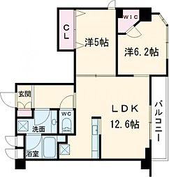 クレストコート志村坂上 9階2LDKの間取り