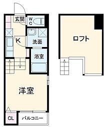 西鉄天神大牟田線 大橋駅 徒歩11分の賃貸アパート 2階1Kの間取り