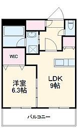 ティアナテラス 6階1LDKの間取り