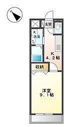 福岡市地下鉄空港線 東比恵駅 徒歩21分の賃貸マンション 3階1Kの間取り