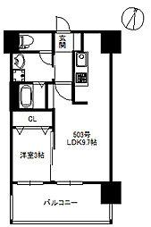 JR筑肥線 九大学研都市駅 徒歩2分の賃貸マンション 5階1LDKの間取り