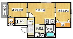福岡市地下鉄七隈線 六本松駅 徒歩11分の賃貸アパート 1階2DKの間取り